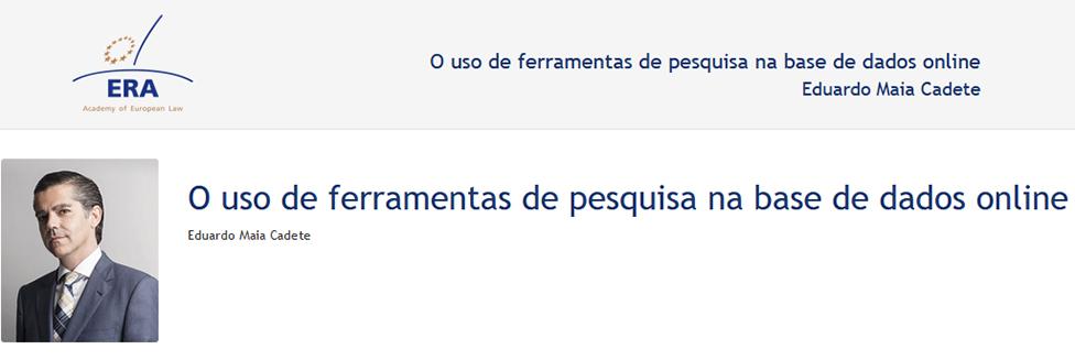e-Presentation Eduardo Maia Cadete (220SDV44): O uso de ferramentas de pesquisa na base de dados online