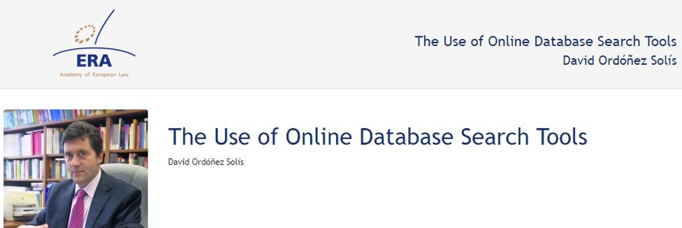 e-Presentation David Ordóñez Solís (220SDV127): The Use of Online Database Search Tools
