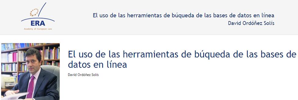 e-Presentation David Ordóñez Solís (220SDV127): El uso de las herramientas de búqueda de las bases de datos en línea