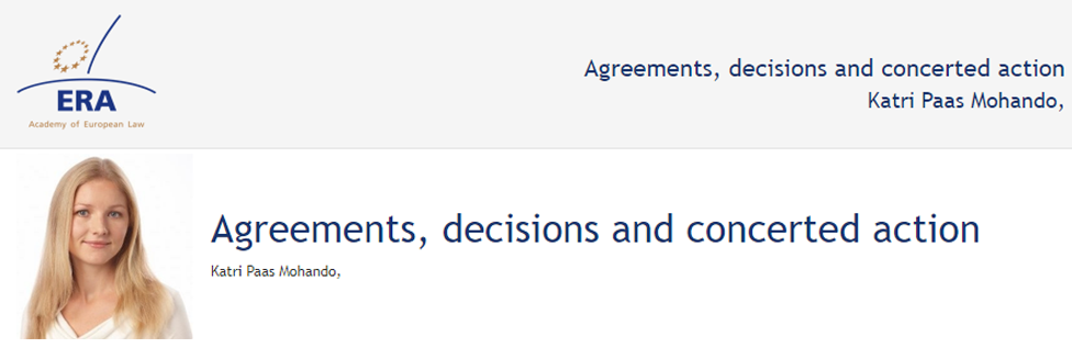 e-Presentation Katri Paas Mohando (220SDV45): Agreements, decisions and concerted action