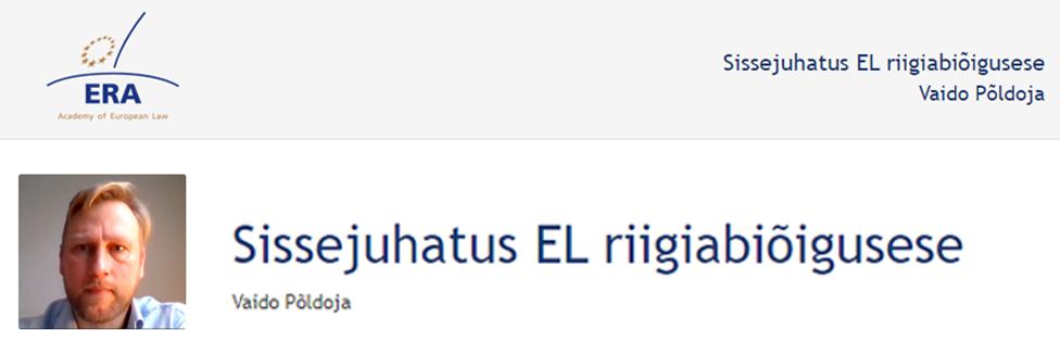 e-Presentation Vaido Põldoja (220SDV45): Sissejuhatus EL riigiabiõigusese